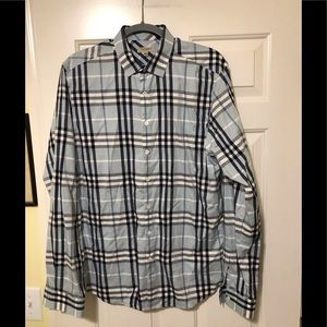 Burberry London designer blue checked shirt L